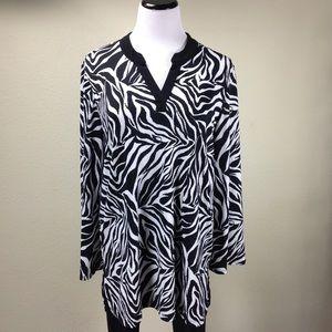 Slinky Brand Black & White Zebra Print Tun…
